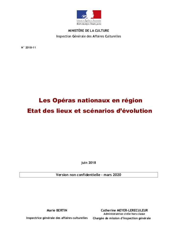 Les Opéras nationaux en région – État des lieux et scénarios d'évolution |
